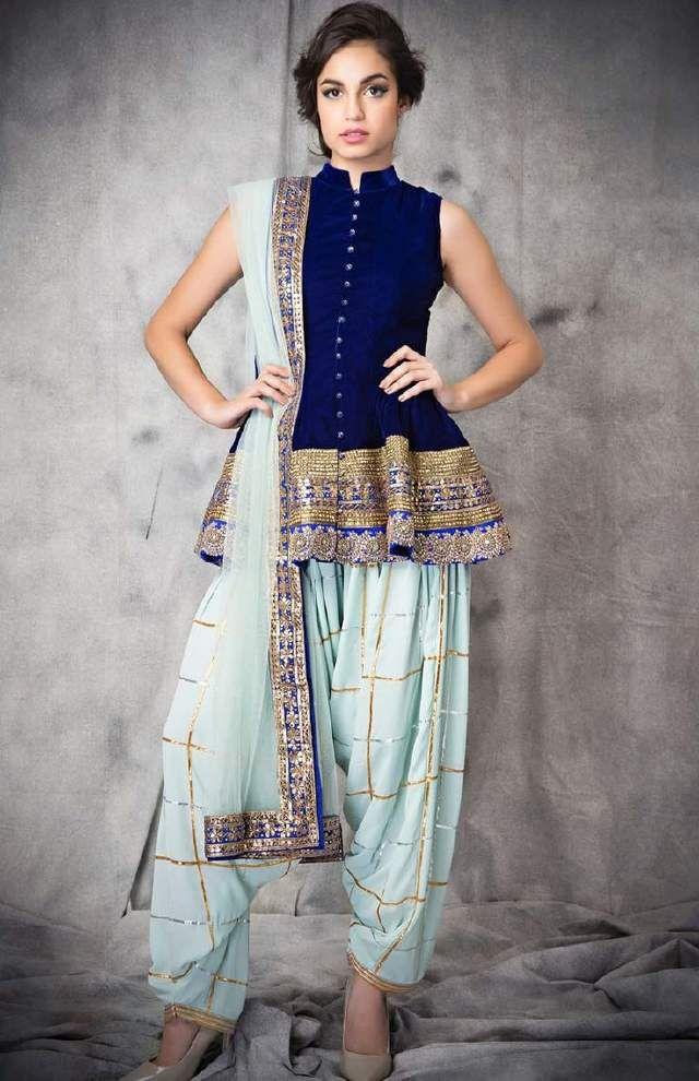 Blue peplum blouse with dhoti pants
