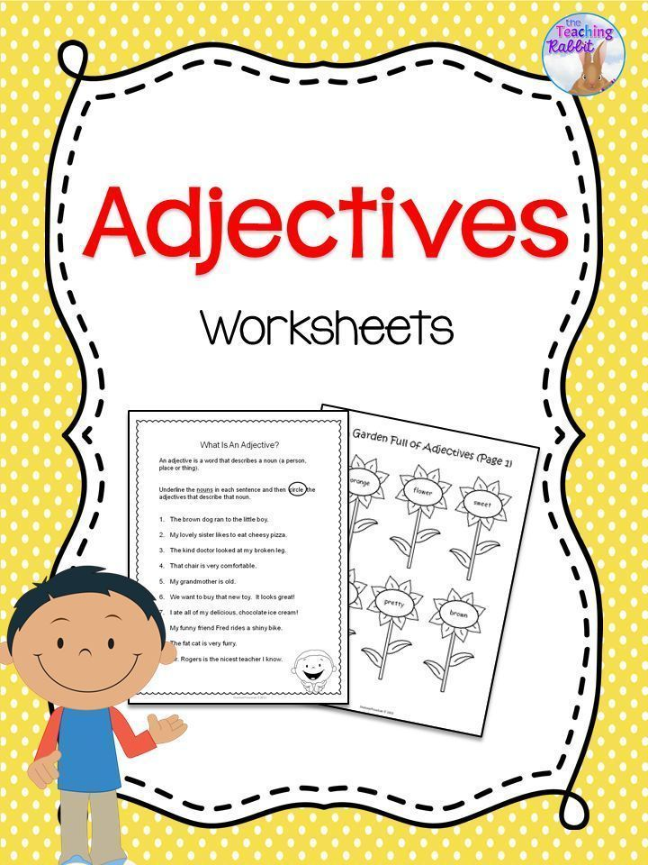 Adjectives worksheets that focus on using adjectives in sentences, and sorting nouns and adjectives! A cut and paste activity and other fun worksheets are also included! #adjectives