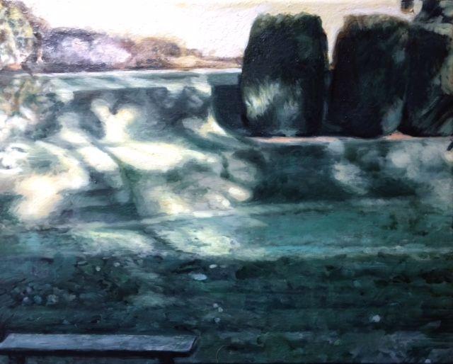 "Three of ""Twelve""  Oil on linen   24 cm x 30 cm. Twelve Apostles, Dartington Gardens, Devon. Painting, art."