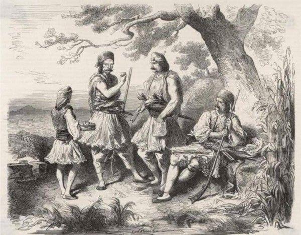 Έξι χιλιάδες Μανιάτες με Ενετούς, υπό τον στρατηγό Πολάνη, πολιόρκησαν και κυρίευσαν τον Μυστρά. Η επιχείρηση αυτή ενισχύθηκε και από τον Μοροζίνη, ο οποίος είχε καταπλεύσει με ολόκληρο τον στόλο του στο Μαραθωνήσι (Γύθειο). Λιθογραφία: Μανιάτες κλέφτες.