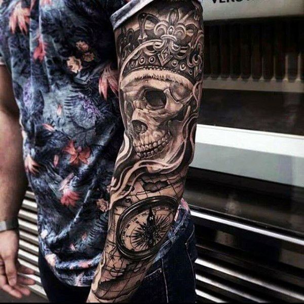 112eff90a 100 Crown Tattoos For Men - Kingly Design Ideas | Tattoos | Arm tattoos  skulls, Sleeve tattoos, King tattoos