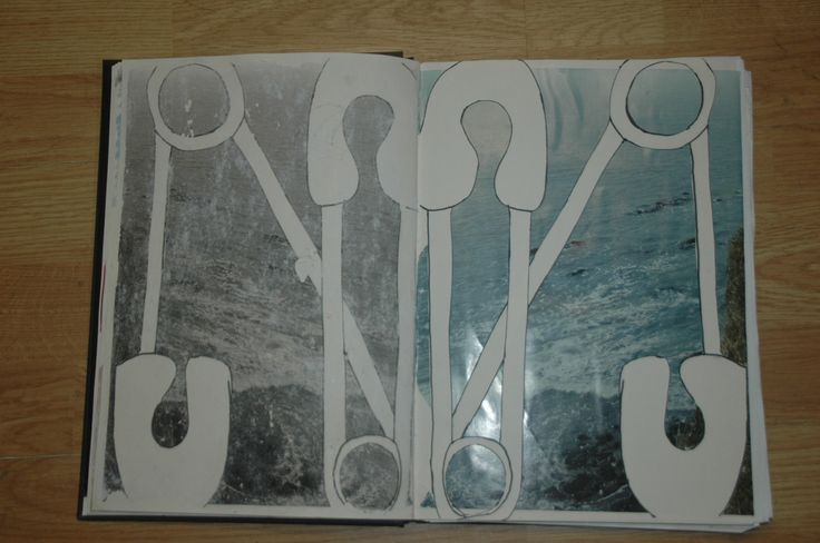 Safety Pin Cut outs and image transfer using PVA Glue