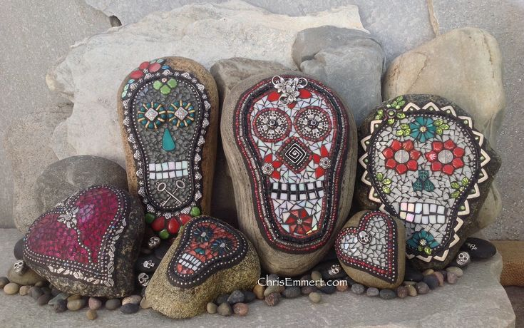 Mosaic Skull Garden Stones | by Chris Emmert