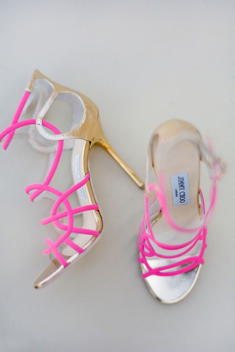 Strappy pumps are a must any day, but when they're hot pink, they're an absolute must for your wedding day!