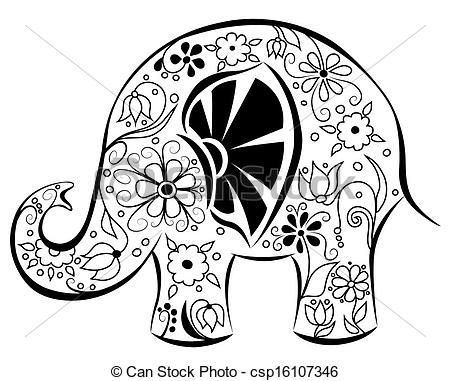 Resultado de imagen para dibujos de elefantes hindues para colorear