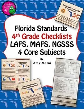 Florida Standards LAFS MAFS NGSSS 4th Grade Checklists Lay