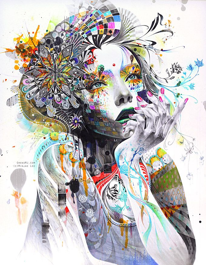 "Unique art from Minjae Lee .  ""Minjae Lee is a young South Korean artist whose work expresses a semi-disturbing inner tension that is tough to ignore, even if you feel that you'd like to. It draws you in with its powerful colors, halting imagery and clever juxtaposition of beauty, innocence and fragility with brash, loud and aggressive. What characterizes his work overall is drama."