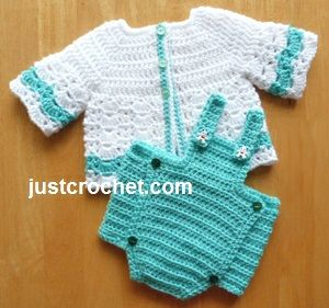 Free PDF baby crochet pattern for bibbed diaper cover & cardi http://www.justcrochet.com/bibbed-diaper-cover-cardi-usa.html #justcrochet