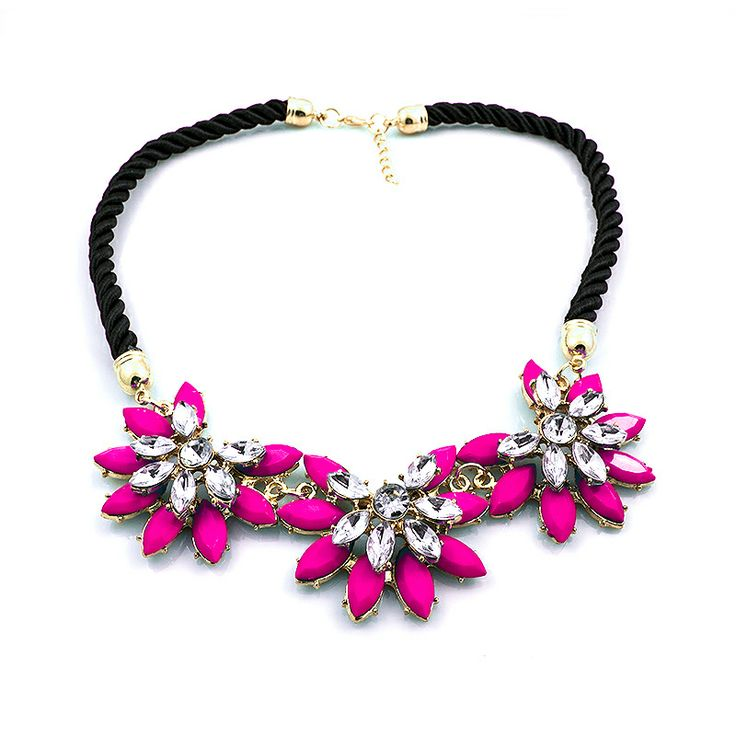 "Statement ketting ""Pink Flowers"""