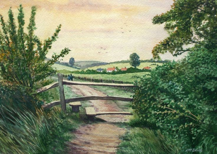 Evening stroll over the South Downs, West Sussex - watercolour