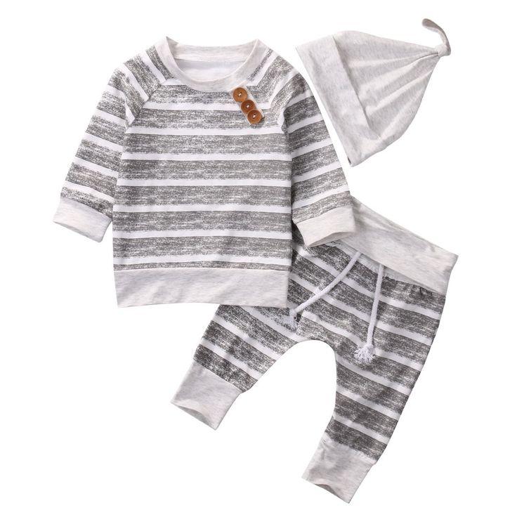 Casual Gestreepte Baby Kleding Set Pasgeboren Zuigeling Bebes Jongens Meisjes Lange Mouw T-shirt TOPS + Broek + Hoed Outfit Bebek Giyim Trainingspak