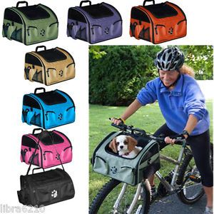 3-in-1-Bike-Bicycle-Basket-Dog-Cat-Carrier-Car-Seat-Travel-Tote-Pet-Gear-NEW