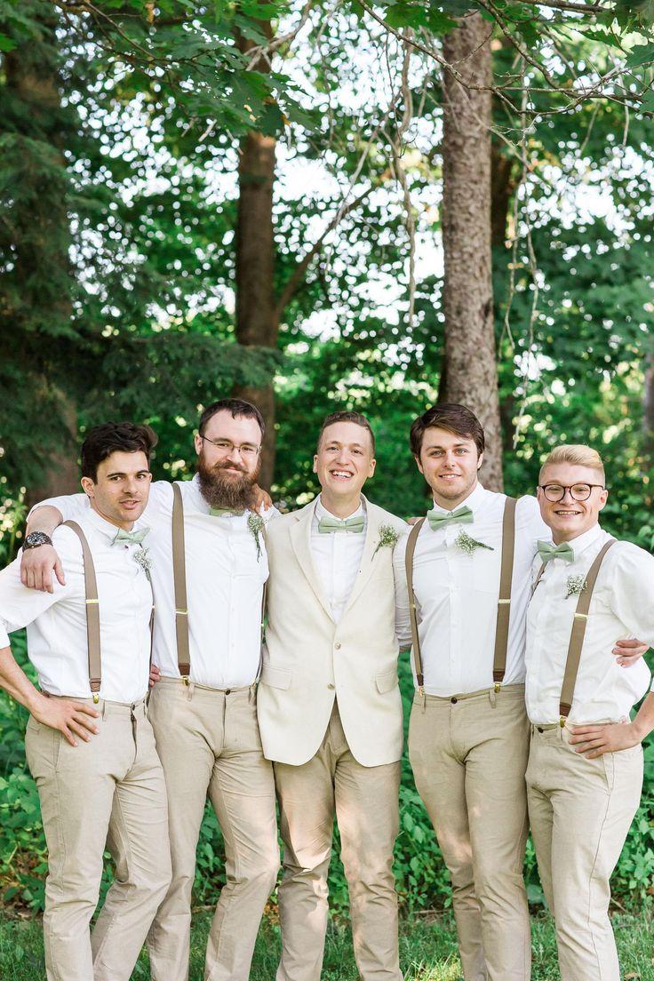 The Smarter Way to Wed  Groomsmen Fashion  Groomsmen suspenders Groomsmen bowtie Beige wedding
