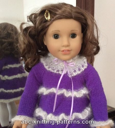 ABC Knitting Patterns - American Girl Doll Mohair Glamour Dress with Ruffles and Detached Lace Collar