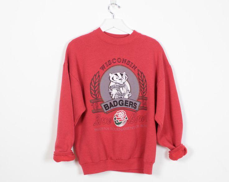 Vintage 90s Sweatshirt Red Gray Wisconsin Badgers 1990s Boyfriend Sweatshirt Athletic University of Wisconsin UW Jumper T Rose Bowl L Large by JosieAndJoan on Etsy https://www.etsy.com/listing/257615250/vintage-90s-sweatshirt-red-gray