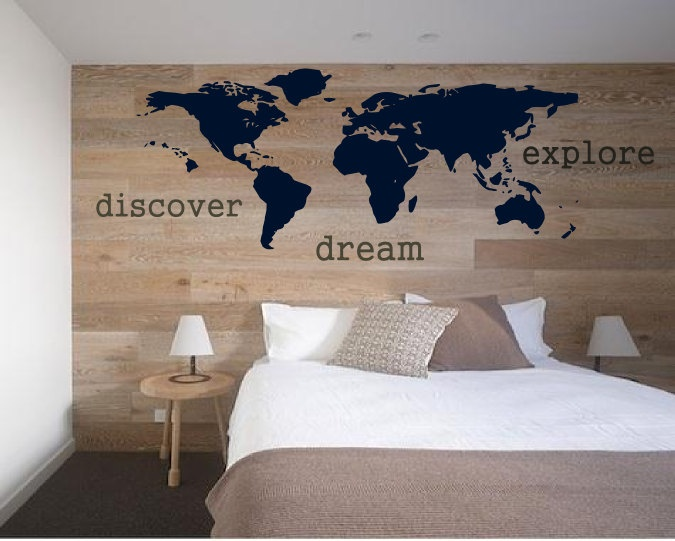 Explore, Dream, Discover the WORLD - vinyl wall art decals sticker graphic by 3rdaveshore. $78.00, via Etsy.