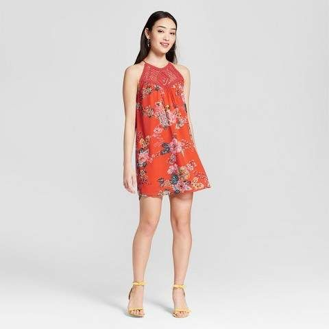 Lots of Love by Speechless Women s Floral Crochet Halter Dress - Lots of  Love by Speechless (Juniors ) Coral  064d265ec
