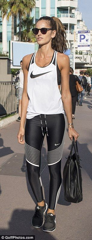 Izabel Goulart was happy to showcase the results of her hard work as she put her toned legs on full display outside the Grand Hyatt Martinez hotel on Tuesday.