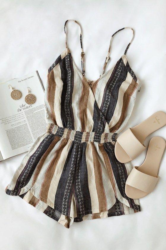 Brenda Navy Blue #Striped #Romper #summeroutfits #stripedromper #brenda #romper #striped #stripedromper #summeroutfits