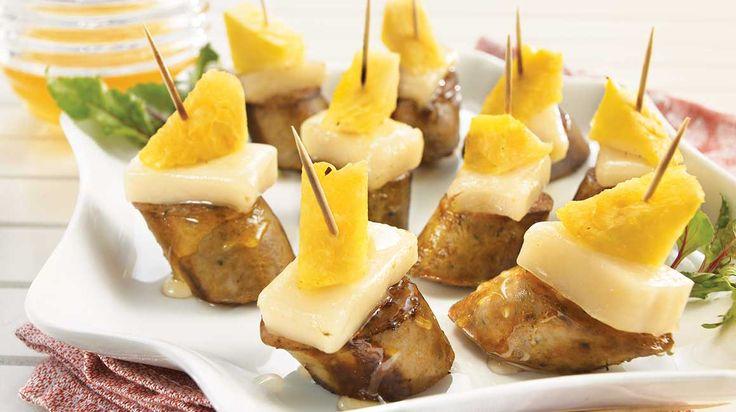 Brochettes de saucisse à l'ananas et au Chèvre Noir