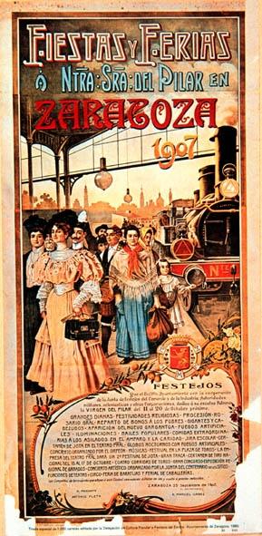 Zaragoza, Spain. Cartel de Fiestas del Pilar. 1907