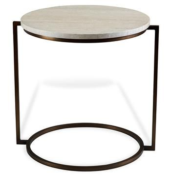 Reminiscent of Bauhaus era minimalism and the ebullient reinterpretation of it expressed by Italian designers in the 1980s, this oval side table makes maximum impact using the sparest of lines. With a beige travertine surface and blackened metal base, it is perfect for Industrial Loft and contemporary style spaces alike. #kathykuohome