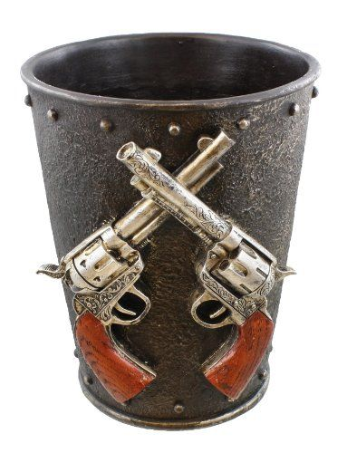 Double Pistol  Faux Cast Iron Waste Basket  Trash Can  Western Gun Revolver Six Shooter ** More info could be found at the image url. Note:It is Affiliate Link to Amazon.