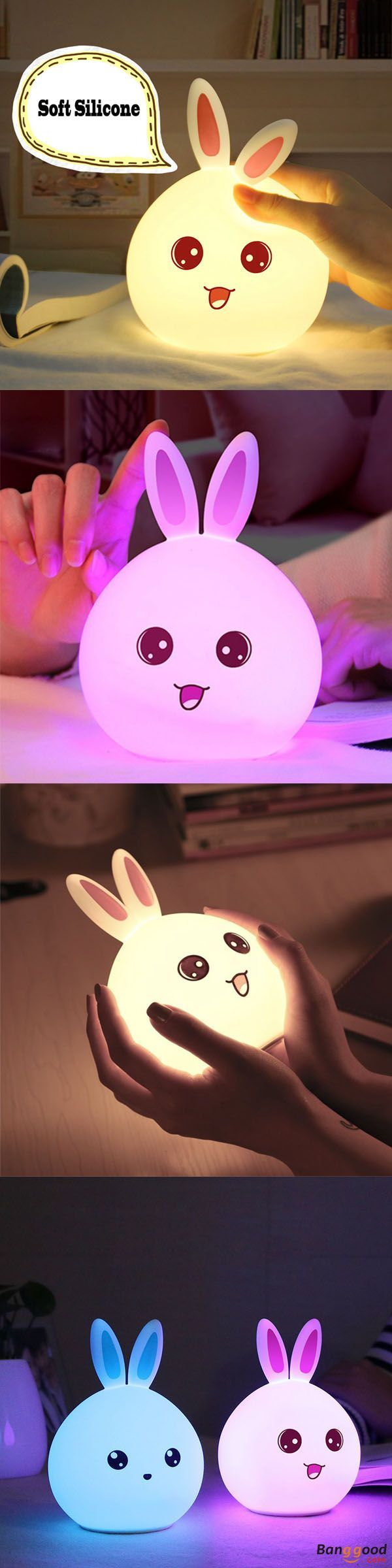 US$13.29 + Free shipping. Color changing light, silicone rabbit night light, remote control lamp, rechargeable bedside lamp. Ear-color :Blue / Pink. Material: silicone.