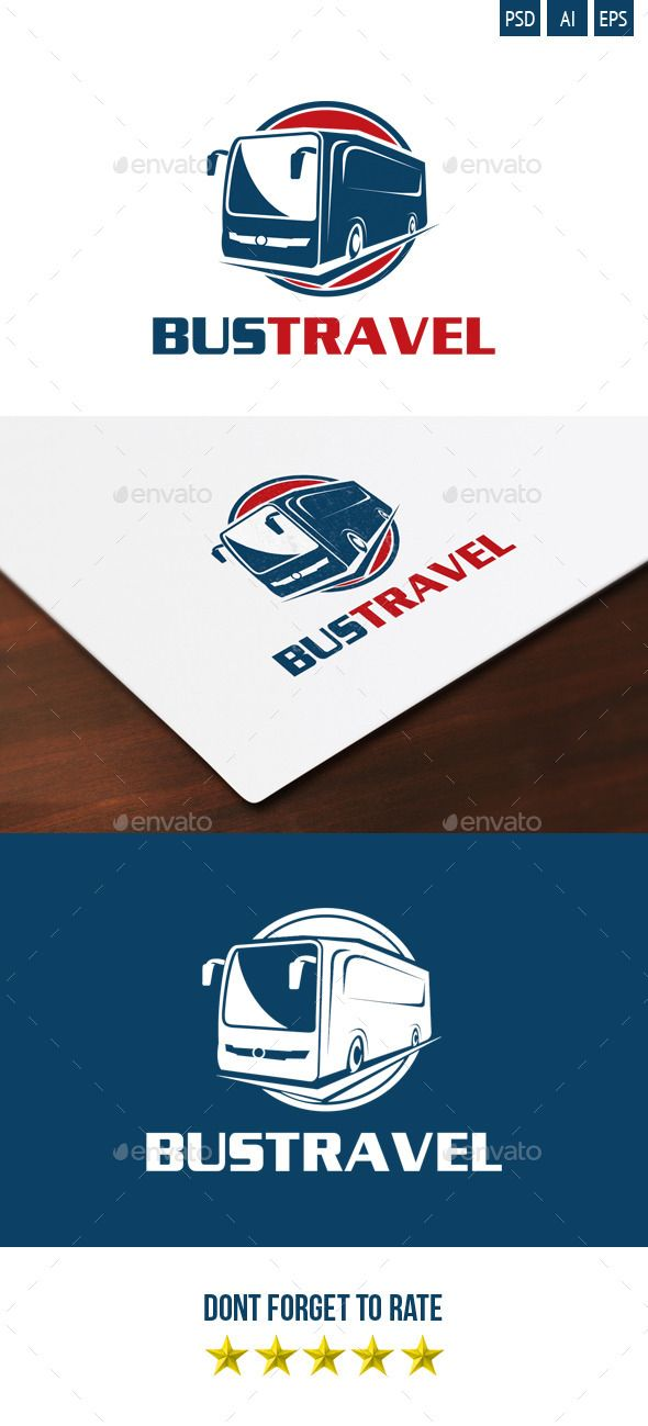 Bus Travel Logo — Photoshop PSD #blue #automotive logo • Available here → https://graphicriver.net/item/bus-travel-logo/5127684?ref=pxcr
