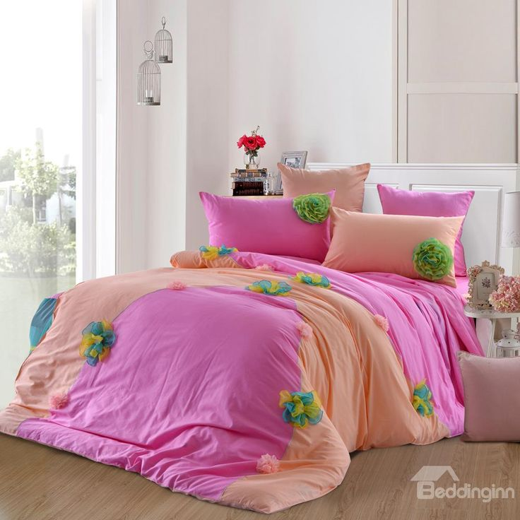 New Arrival Sweet Pink Color Flower Applique Design Bed-skirt 6 Piece Bedding Sets  @bedding inn