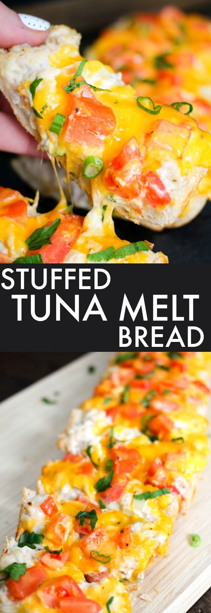 Stuffed Tuna Melt Bread takes the classic sandwich to a new level. Creamy tuna topped with tomatoes and cheese makes for the perfect lunch or party snack!