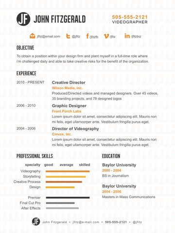 17 best Resume Templates images on Pinterest Professional resume - videographer resume