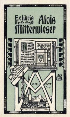Bookplate by Bernhard Wenig for Alois Mitterwieser ~ 1903 ~ Bernhard Wenig was a German illustrator, graphic artist and designer. He also designed textiles.