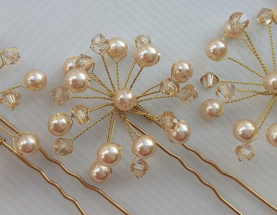 Bridal Hair Pin Wedding Hair Pins Pearl Hair Pin by DesignByIrenne