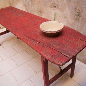 Rødt vintage træbord, Bolig vintage Møbler
