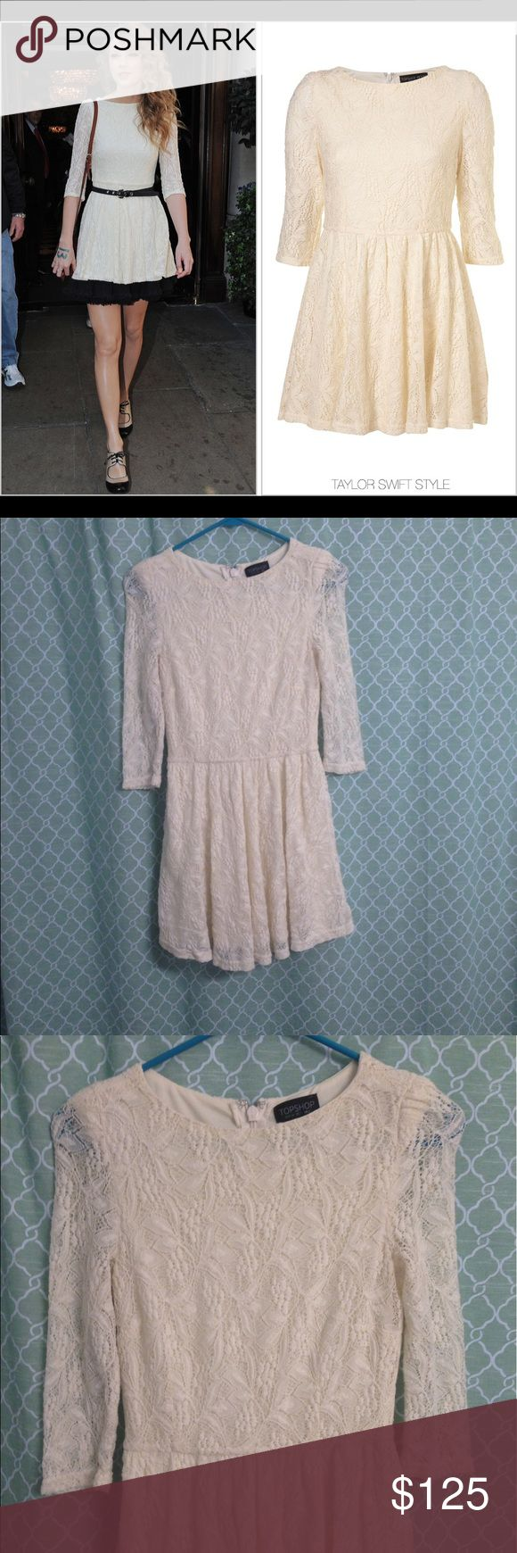 NWOT Topshop Flippy Lace Dress ASO Taylor Swift! 2 Up for sale is a beautiful NWOT Topshop Cream Lace Flippy Dress, Size 2. This is the same dress Tay wore in London. Extremely rare and hard to find. Size 2 (US). Topshop Dresses Mini