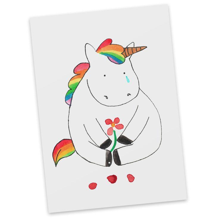 Postkarte Einhorn Traurig aus Karton 300 Gramm  weiß - Das Original von Mr. & Mrs. Panda.  Jedes wunderschöne Motiv auf unseren Postkarten aus dem Hause Mr. & Mrs. Panda wird mit viel Liebe von Mrs. Panda handgezeichnet und entworfen.  Unsere Postkarten werden mit sehr hochwertigen Tinten gedruckt und sind 40 Jahre UV-Lichtbeständig. Deine Postkarte wird sicher verpackt per Post geliefert.    Über unser Motiv Einhorn Traurig  Ooooh, ein trauriges Einhorn... Da hilft wohl nur noch jede Menge…