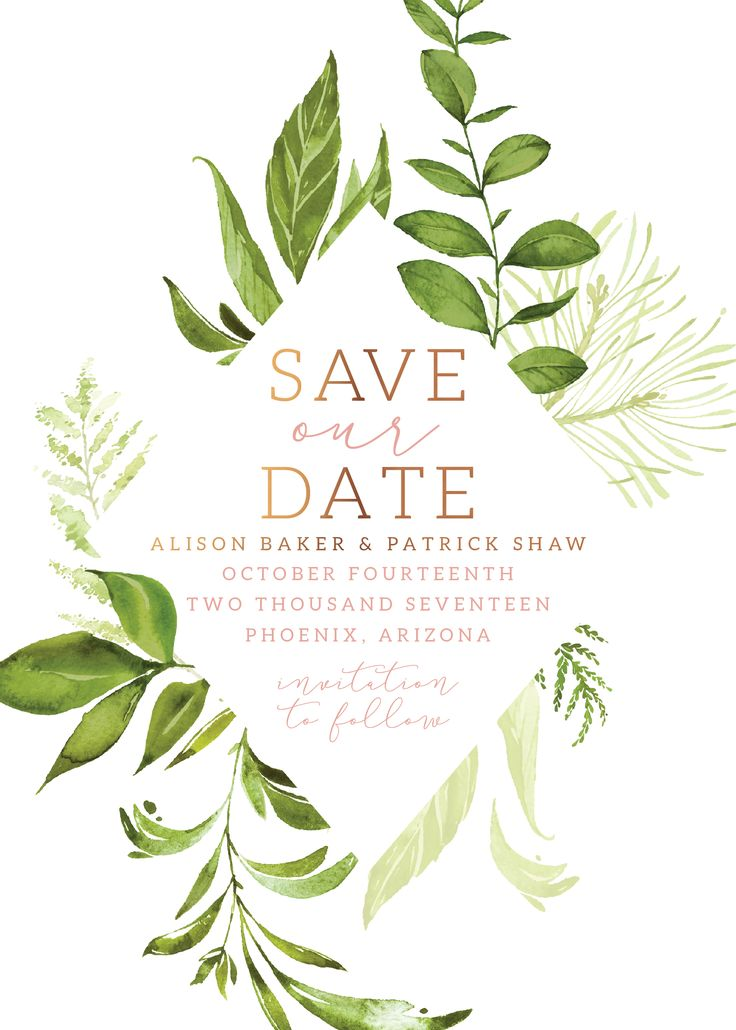 Greenery Save the Date - shown in Peach with copper foil