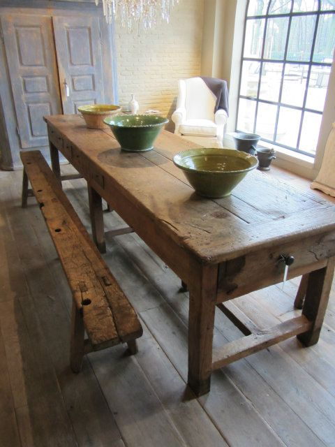 flooring and table  Long rustic wooden bench #woodenbench Great kitchen seating area, like the linen armchair in the corner #linenarmchair