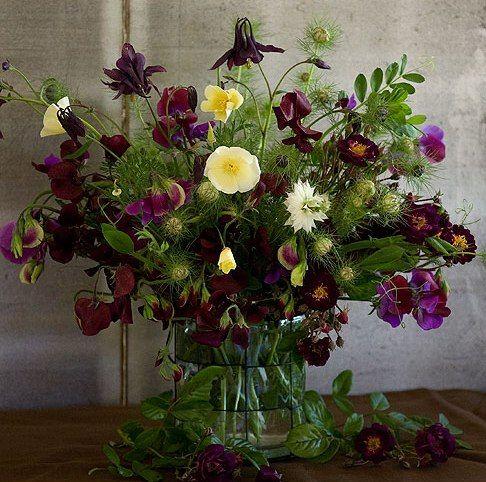 Arranjo floral - ervilhas de cheiro e outras -