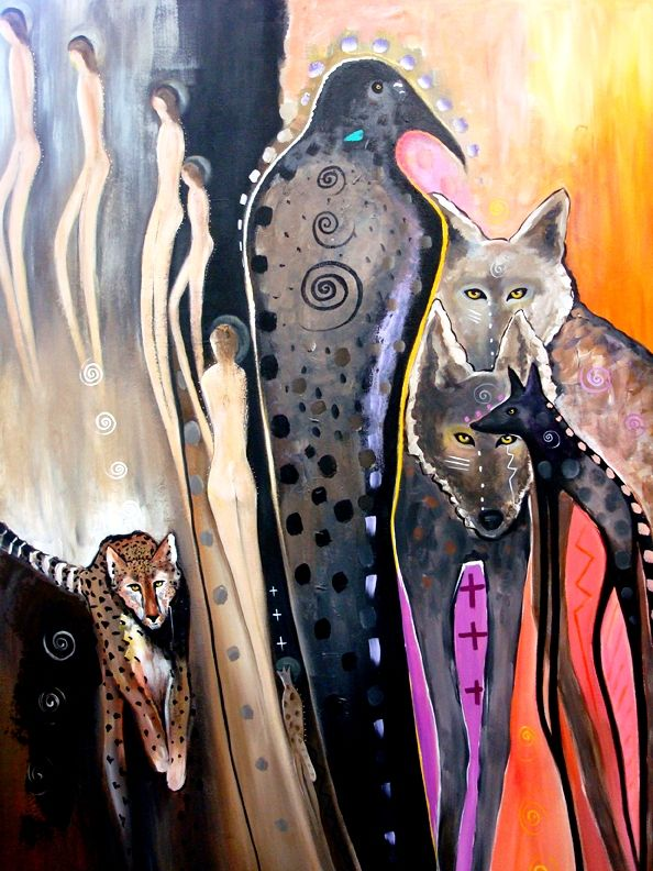 "SOLD: Shananitawu / 48"" x 36"" / acrylic on canvas ©Virginia Maria Romero"