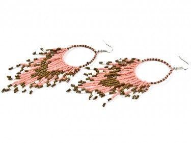 Kolczyki z koralikami - malinowo brązowe Sprawdź więcej na www.carlena.pl