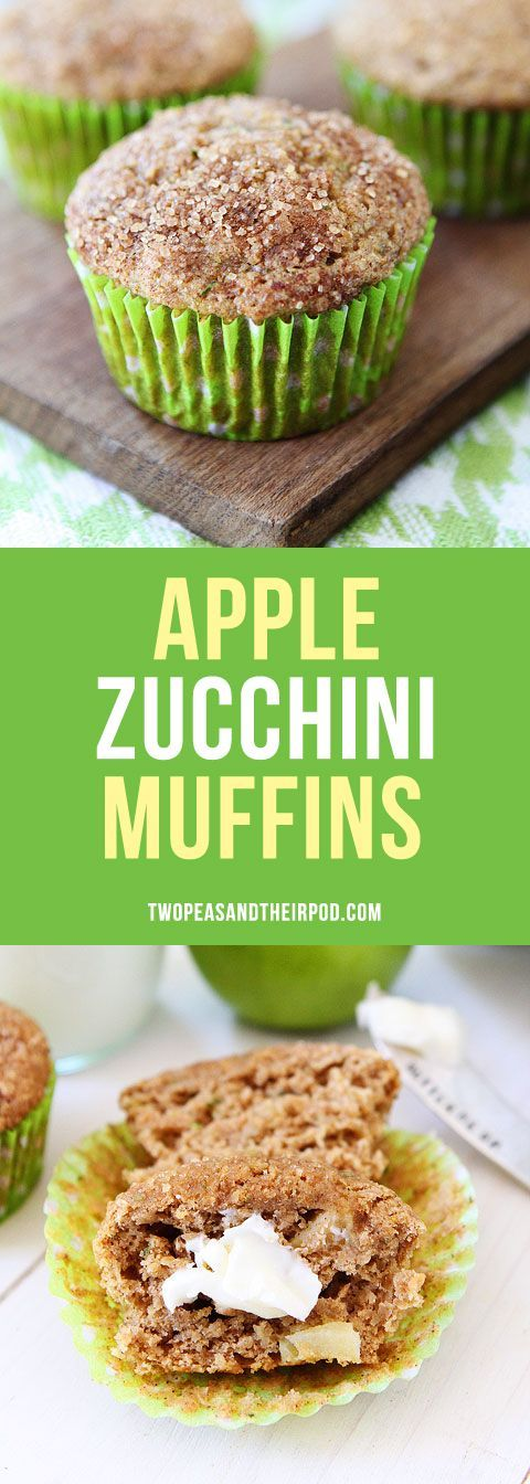 Apple Zucchini Muffins-these easy and healthy muffins are a family favorite. Made with whole wheat flour, zucchini, and apples. They freeze well and are great for breakfast or snack time.