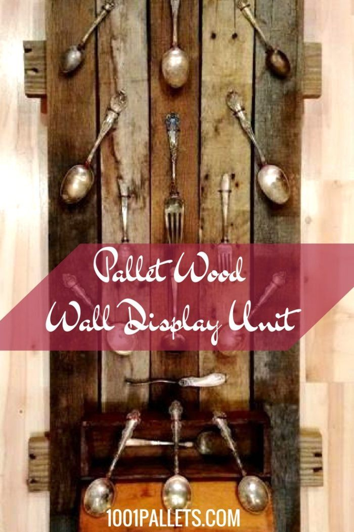 A unique pallet-wood display piece created for showing off some vintage plated silverware picked up from a garage sale.  #HomeDécor, #PalletDisplay, #PalletFrame, #PalletHomeDecor, #PalletWallArt, #Spoons