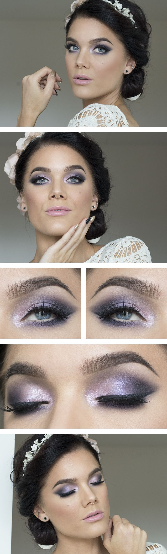 White dress eye makeup - Todays Look Bridal Purple Linda Sminkblogg