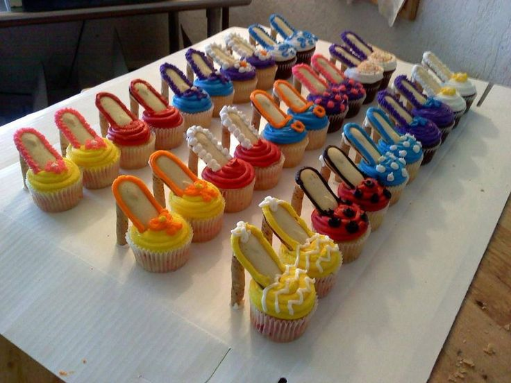Heels are Pirouette cookies, soles are Milano cookies, and toes are decorated cupcakes.