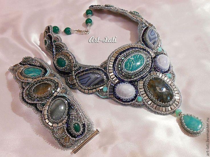 """Купить Комплект """"Мария"""" - art-lati, комплект, бисер, браслет, колье, полудрагоценные камни"""