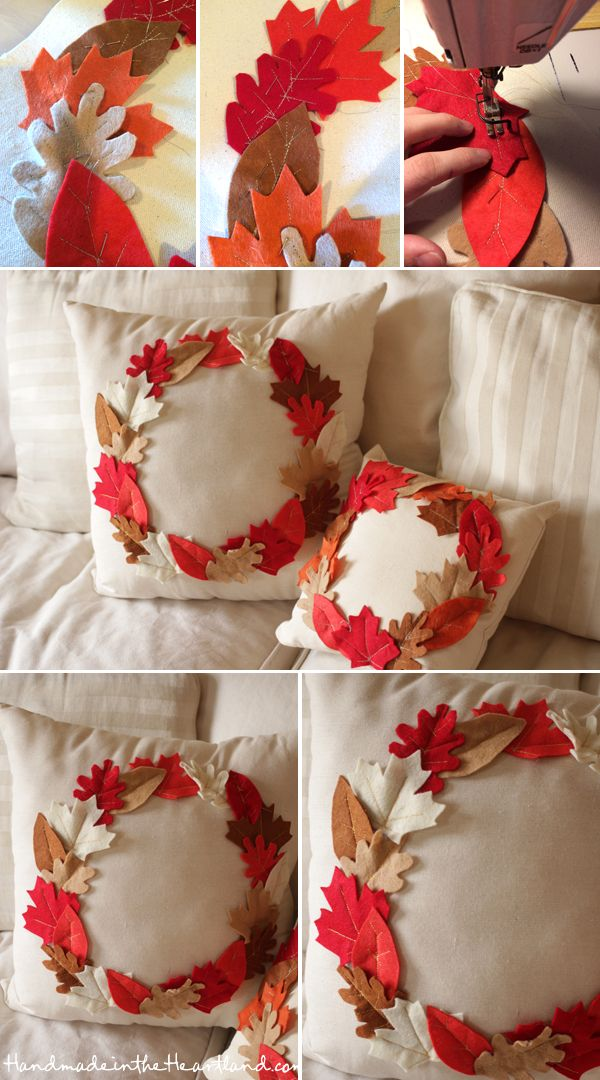 DIY Thanksgiving Leaf Pillows, easy and cute! handmadeintheheartland.com