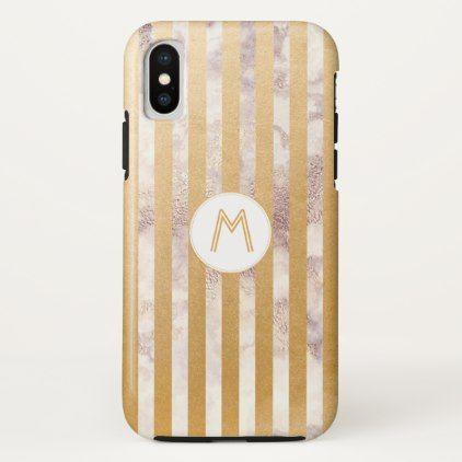 Monogram phone case | gold stripe marble - monogram gifts unique design style monogrammed diy cyo customize