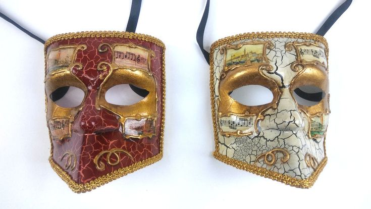 2 Bauta Mardi Gras Venetian Masquerade Masks Musical Gold Lining Free Shipping #Masquerade #Venecian